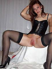 Smoking sexy girl in stockings teasing and dildoing pussy.