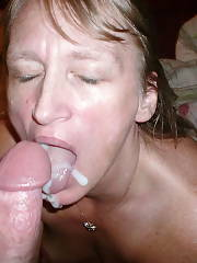 My naughty wife BJ cock and gets a sappy facial cumshot.