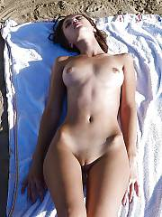 Brunette bulgarian girlie aleksandra gets naked at the public beach