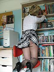 Mature sarah in stockings enjoys masturbating her vagina at the office.