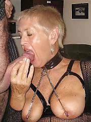 Granny in fishnet masturbating