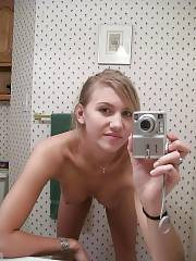 Sexy teen amateur naked selfshot in the mirror.