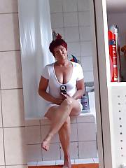 Hot red-haired mature woman anita flashing.