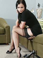 Aria giovanni wearing black ff nylon stockings