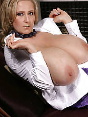 Busty mature abby exposes her massive titties.