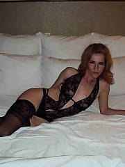 Sexy wife in black underwear with stockings.