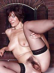 Hot hairy mamma showing off her pussy.