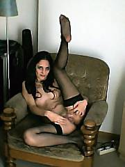 Some photos long been sitting on... - flexi amateur dark haired mamma spreading in stockings.  i met her while on vacation.  do you like?