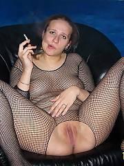Nasty wifey in fishnets