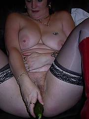 She continually has something stuffed in her pussy, sometimes other guys, but i cant leave those huge breasts