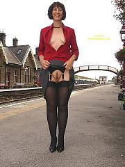 Getting horny at the train station, theres no service sunday afternoons so she thought it was safe to let loose.