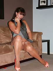 Mother in stockings and nylons positions on cam.