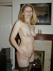 Sexy blonde sexy grandmother christine at home