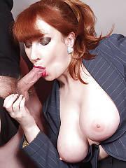 Horny busty redheaded