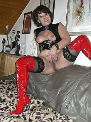 Naughty german wife enjoys wanking her wet cunt at home.