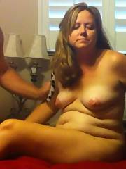 Mature chubby wife shows cunt and penetrates