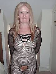 Mature hairy mother in hot body stocking.