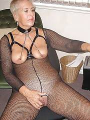 Granny in fishnet masturbating and sucking cock.