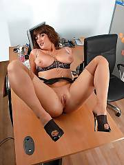Mamma jenny wearing stockings at the office