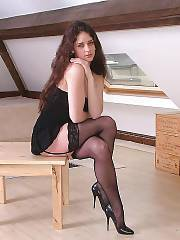 Amateur becky in ff black stockings at home