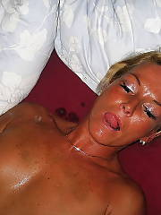 Horny mamma sucking dick and masturbating pussy.
