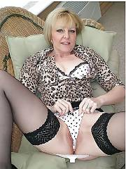 Mother in nylon stocking.