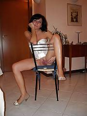 European whore wifey positions naked at home.
