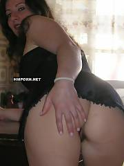 Booty brunette wifey teasing husband by showing her nude excellent backside visible upskirt, then riding husbands cock watching a tv set and taking close-up home made sex photos