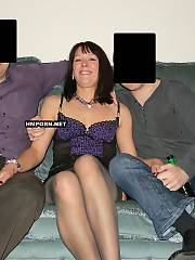 Real swinging housewife enjoying group xxx with two swinger strangers and getting double banged in pussy and butt in front of hubby who filmed that wild act