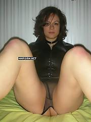 Homemade porn - mature lady shows her big natural tits, spreading hot underwear to flash fuckable pussy and then jerks with long double sided toy