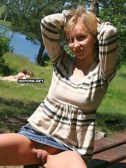 Beautiful amateur gals and nasty mature women wearing no panties when going outside and flashing cunts at home and public places