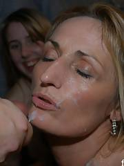 Sexy mature sperm face drenched