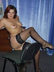 Sexy WifeBucket mother In Black Stockings