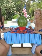 Sapphic teen and stepmom exploding watermelon challenge