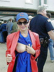Mature Cubs fan public boob flash
