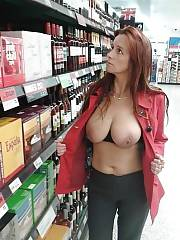 Mamma flashing jugs in a shop