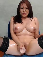 Big tit Asian MILF Wearing Stockings fuckin huge toy