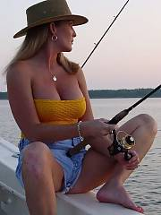 Sexy mother fishing
