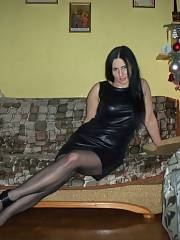 Tasty mature chick in mini leather dress and shiny nylons