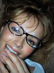 Dirty mom playing secretary jizz shot on glasses