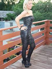 Wonderful blond mature nymph in black tight dress