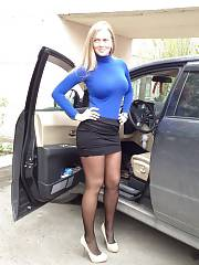 Boobed milf by her family van
