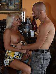 Super nice blond mature has young friend toy