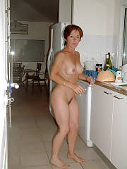 Mature nude wife at home