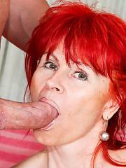 Redhead mature Patricie sucks and rides dick