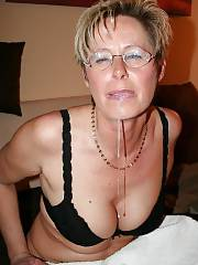 Mature with glasses taking a facial