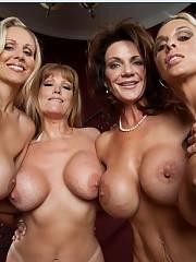 Four mature boobed pornstars