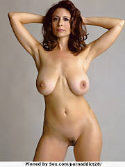 Mature brunette with large natural jugs