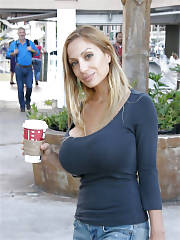Boobed mom just getting her coffee