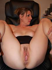 Beautiful chubby mom shows vulva